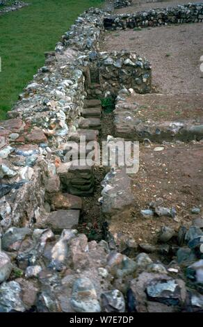 Roman Fort at Caister-on-Sea, built around 200 AD. Artist: Unknown - Stock Photo
