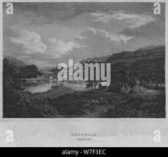 'Langholm, Dumfrieshire', 1814. Artist: John Greig. - Stock Photo