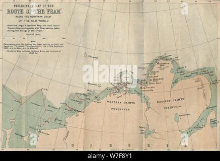 'Preliminary Map of the Route of the Fram along Northern Coast of Old World',  c1893-1896, (1897).  Artist: Unknown. - Stock Photo