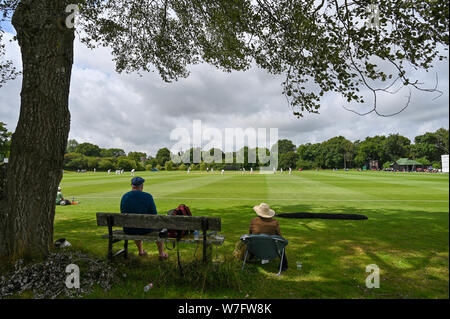 Henfield UK 6th August 2019 - Spectators watch Sussex Second eleven cricket team including Jofra Archer against Gloucestershire Seconds at the picturesque  Blackstone cricket ground near  Henfield just north of Brighton . Jofra Archer is hoping to prove his fitness so he can play against Australia in the next test match Credit : Simon Dack / Alamy Live News - Stock Photo