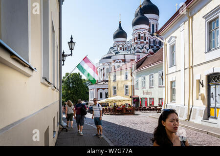 Russian Orthodox Alexander Nevsky Cathedral in Tallinn, Estonia on 21 July 2019 - Stock Photo