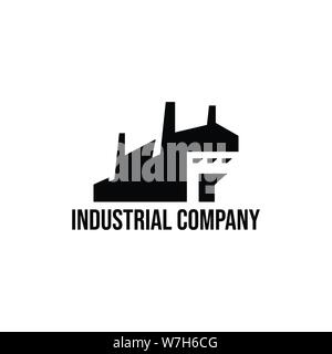 Industrial factory building flat logo design vector template illustration - Stock Photo