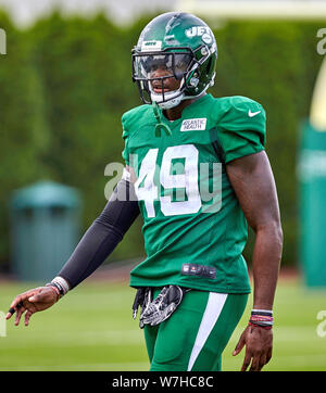 August 6, 2019, Florham Park, New Jersey, USA: New York Jets linebacker Jamey Mosley (49) during training camp at the Atlantic Health Jets Training Center, Florham Park, New Jersey. Duncan Williams/CSM - Stock Photo