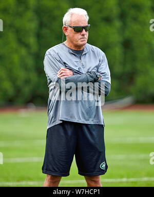 August 6, 2019, Florham Park, New Jersey, USA: New York Jets linebacker coach Joe Vitt during training camp at the Atlantic Health Jets Training Center, Florham Park, New Jersey. Duncan Williams/CSM - Stock Photo