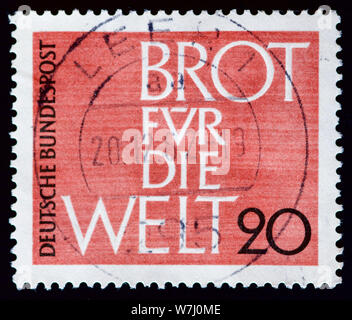 West Germany Postage Stamp - Bread for The World - Stock Photo