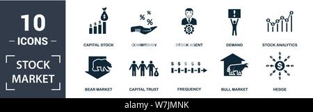 Stock Market icon set. Contain filled flat bear market, bull market, stock analytics, stock agent, capital stock, capital trust, demand, frequency ico - Stock Photo