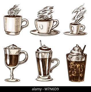 Set of cups of coffee in vintage style. Take away Cappuccino and Glace, espresso and latte, mocha and Americano, frappe in a glass. Hand drawn - Stock Photo
