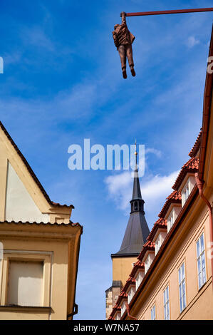Prague Czech Republic. Man hanging out. an artwork by David Cerny in old town, depicting Sigmund Freud - Stock Photo