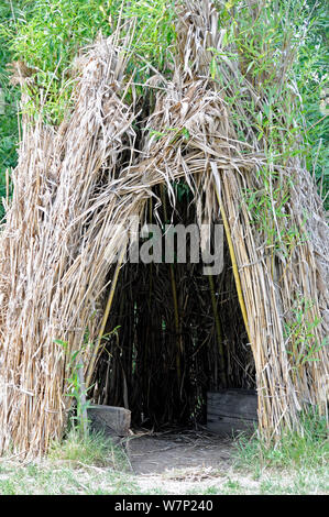 Entrance to willow teepee, Camley Street Natural Park, London Borough of Camden, UK - Stock Photo