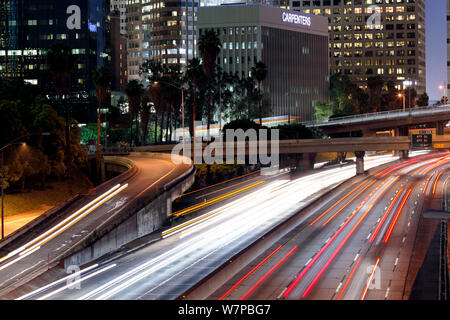 The 110 Harbour Freeway at night, downtown Los Angeles, California, USA, June 2011 - Stock Photo
