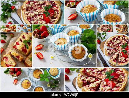 Collage summer baking. Strawberry pastries - cake, pie and muffins on a stone table. - Stock Photo