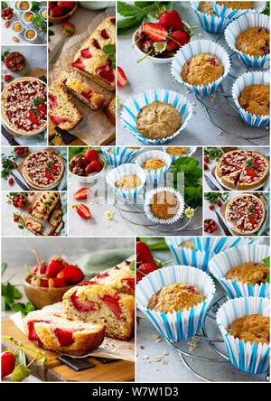 Collage summer baking. Strawberry pastries - cupcake, pie and muffins on a stone table. - Stock Photo