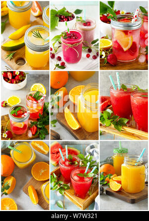 Background collage drinks. An assortment of juice drinks and smoothies on a stone table. - Stock Photo