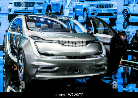 A GAC Fiat Chrysler Automobiles Portal Concept car is on display during the 17th Shanghai International Automobile Industry Exhibition, also known as - Stock Photo
