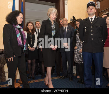 French Embassy, 58 Knightsbridge, London, UK. 16th November, 2015.  Home Secretary Theresa May joins French Ambassador to London Sylvie Bermann for  m - Stock Photo