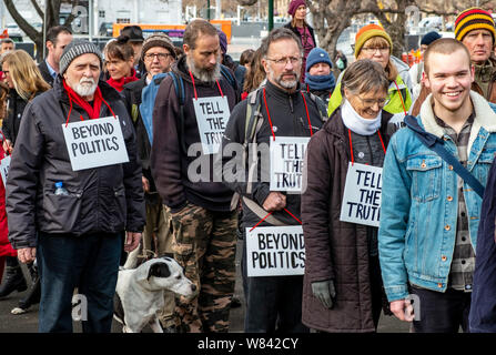 The Extinction Rebellion protest against climate change inaction, outside the Tasmanian Parliament in Hobart, today (Thursday, August 8, 2019) - Stock Photo