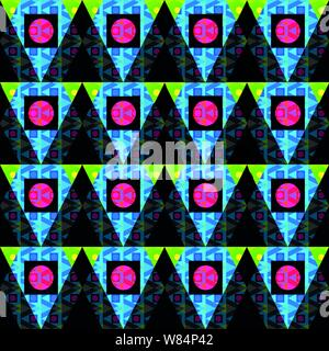 colored circles and polygons on a black background seamless abstract background - Stock Photo