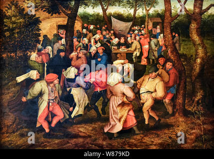 Pieter Brueghel the Younger, Outdoor Peasant Wedding Dance, painting, 1607 - Stock Photo