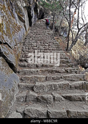 Man with backpack has a fascinating adventure trekking to the Everest peak. The steepest parts of the trail are lined with granite stone for convenien - Stock Photo