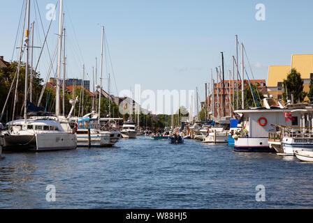 Christianshavn Copenhagen Denmark - canal scene in summer, Christianshavn, Copenhagen Scandinavia Europe - Stock Photo