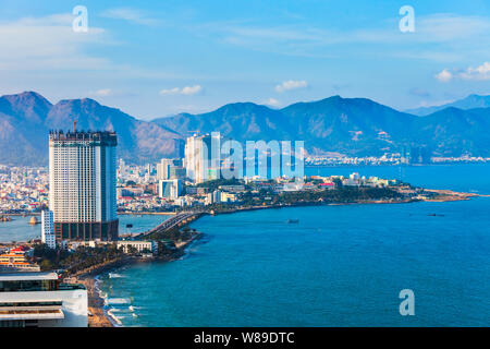 Nha Trang city skyline aerial panoramic view at sunset in south Vietnam - Stock Photo