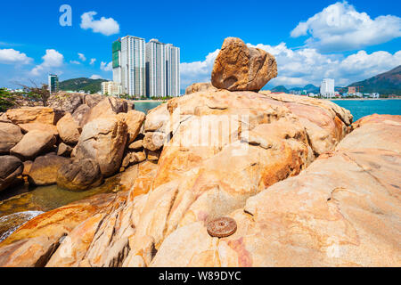 Hon Chong cape rock garden is a popular tourist attraction in Nha Trang city in Vietnam - Stock Photo
