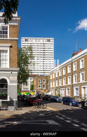 Tower block overlooking Georgian terraced houses on St. James's Gardens, The Royal Borough of Kensington and Chelsea, Notting Hill, London, UK - Stock Photo