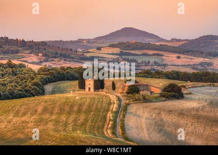 Cappella della Madonna di Vitaleta, San Quirico, Tuscany, Italy, Europe - Stock Photo