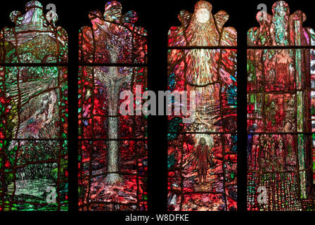Lights 1-4 of the Thomas Traherne memorial window in Hereford Cathedral, Herefordshire, UK - Stock Photo