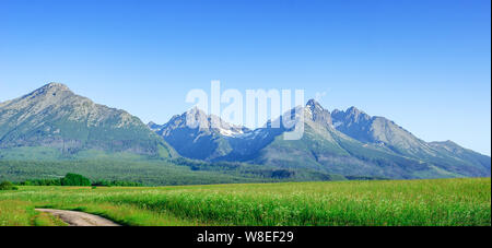 High Tatras, Slovakia. Scenic landscape of a mountain range on a summer day. - Stock Photo
