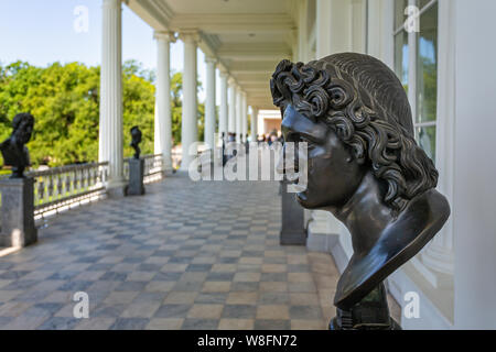 Close up of Bronze busts outside the Kameronova Gallereya and museum in the grounds of catherine's Palace in Pushkin, St Petersburg, Russia on 22 July - Stock Photo