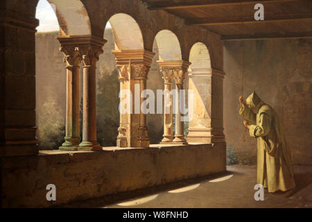 Moine sonnant la cloche dans un cloître. 1820/1824. Fleury Richard. Musée municipal du Monastère royal de Brou. Bourg-en-Bresse. - Stock Photo