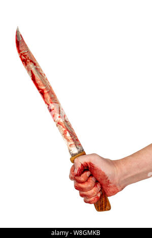 human hand holding old long bloody kitchen knife isolated on white background - Stock Photo