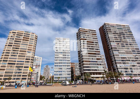 Apartments in front of Poniente beach, Benidorm, Alicante province, Spain - Stock Photo