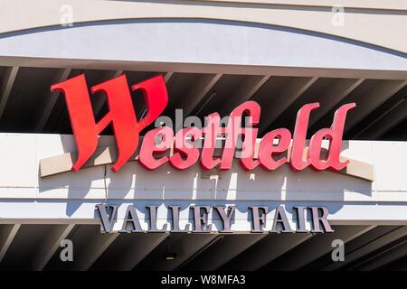 August 9, 2019 San Jose / CA / USA - Close up of Westfield Valley Fair Mall logo; San Francisco bay area - Stock Photo