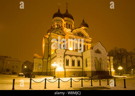 TALLINN, ESTONIA - MARCH 08, 2018: Alexander Nevsky Orthodox Cathedral on a March late evening - Stock Photo