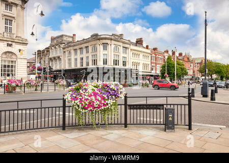 2 July 2019: Southport, Merseyside - A view of Lord Street, the main shopping street, and Bistro Pierre. - Stock Photo