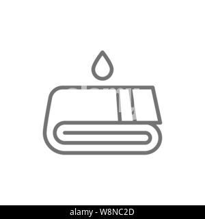 Towels, laundry, washing line icon. Isolated on white background - Stock Photo