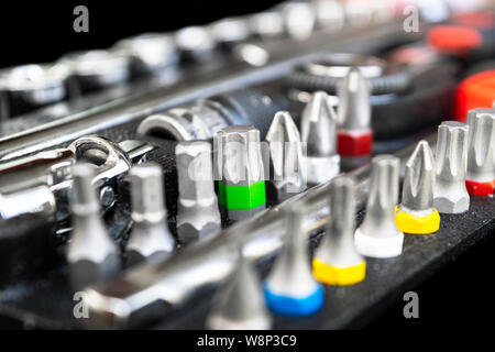 Close up viw of a Garage Tool Box. Set of Tools. Tool Box for Construction. Tool to repair the car or replace automotive spare parts. - Stock Photo