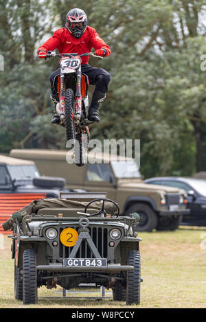 Echoes of History military show at Purleigh, Essex, UK organised by the Essex Historic Military Vehicle Association. Tigers Motorcycle Display Team - Stock Photo