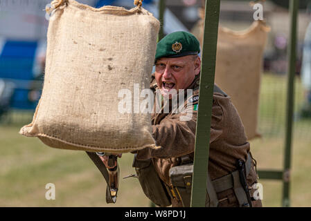 Echoes of History military show at Purleigh, Essex, UK organised by the Essex Historic Military Vehicle Association. Re-enacting bayonet practice - Stock Photo