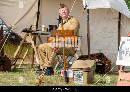 Echoes of History military show at Purleigh, Essex, UK organised by the Essex Historic Military Vehicle Association. Recreation of Great War aerodrome - Stock Photo