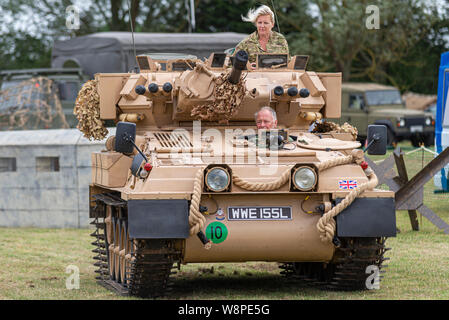 Echoes of History military show at Purleigh, Essex, UK organised by the Essex Historic Military Vehicle Association. Scorpion in desert colours - Stock Photo