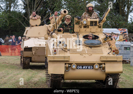 Echoes of History military show at Purleigh, Essex, UK organised by the Essex Historic Military Vehicle Association. AFV in desert colours - Stock Photo