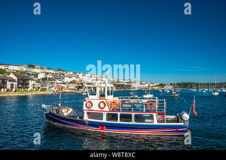 The Falmouth to St Mawes ferry on River Fal estuary with Falmouth to the rear. Cornwall, England, UK. - Stock Photo