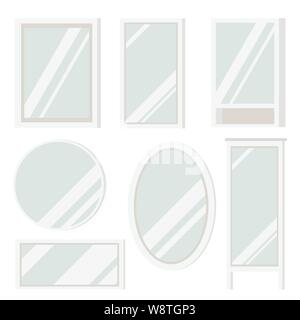 Set of plastic mirrors frame of various shapes round, square, oval, rectangular, floor and with shelves - Stock Photo