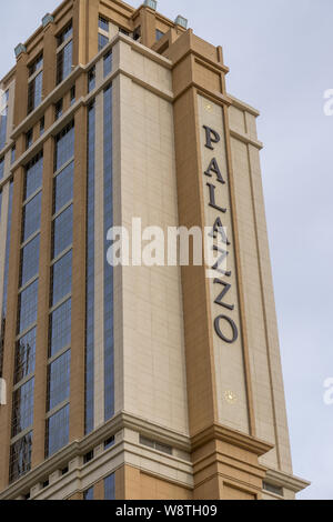 LAS VEGAS, NV/USA - FEBRUARY 14, 2016: The Palazzo hotel and casino on the Las Vegas Strip. The Palazzo is owned by the Las Vegas Sands Corporation. - Stock Photo