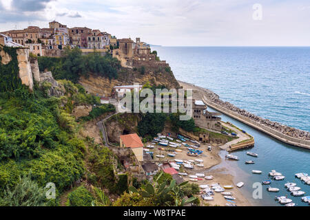 Aerial view of Pizzo town in Calabria with small boat pier at the beach - Stock Photo
