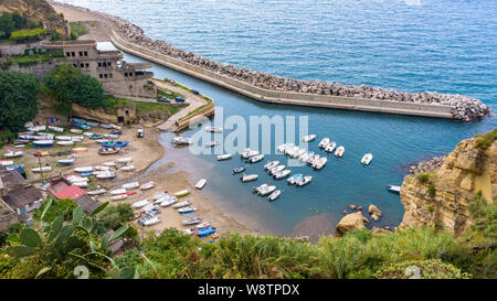 Aerial view of small boat pier in Pizzo, Calabria, Italy - Stock Photo
