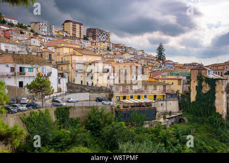 View of residential buildings in Pizzo just before the storm. - Stock Photo